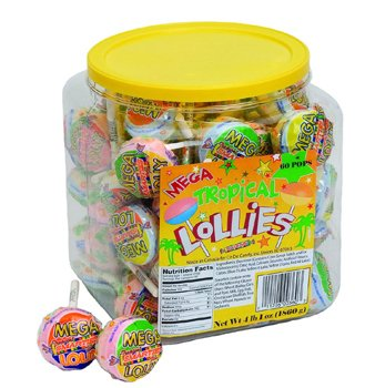 Ce De Candy Mega Tropical Lollies (60 Pops Per (Double Lollies Tub)
