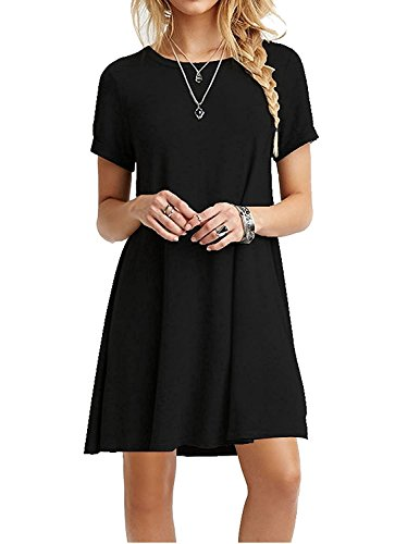 Women's Loose Short Sleeve Stretch Solid A-Line Tunic Dresses Black