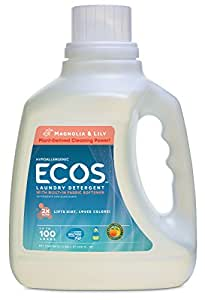 Earth Friendly Products  2X Ultra ECOS Liquid Laundry Detergent With Built in Softener, Magnolia & Lily, 100 Loads, 100-Ounce Bottle (Pack of 2)
