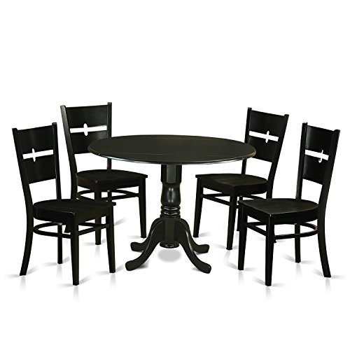 East West Furniture DLRO5-BLK-W 5 Piece Dining Table and 4 Kitchen Nook Chairs Set for 4 People