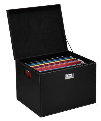 G.U.S. Decorative Office File and Portable Storage Box For Hanging Folders Letter Or Legal, Black
