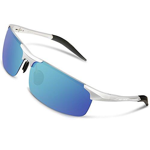 RIVBOS Polarized Sports Sunglasse for Men Women, Glasses for Cycling Running Fishing Golf Baseball Fashion Metal Frames RBS092 (Silver Ice Blue - Sunglasses Tennis Women's