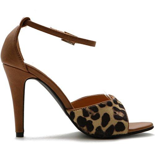 Ollio Women's High Heel Shoe Leopard Strap Sandal (10 B(M) US, Brown)