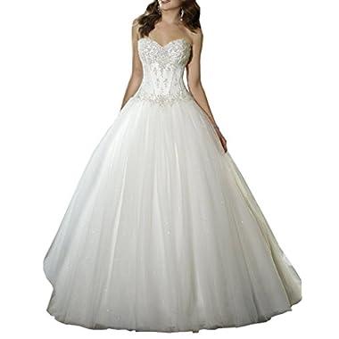YIPEISHA Sweetheart Beaded Corset Bodice Classic Tulle Wedding Dress 2 Ivory