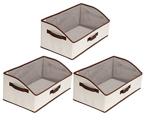 Storage Bins, Fabric storage Baskets, Foldable Closet Organizer Trapezoid Storage Box By StorageWorks, Polyester Canvas, Beige, EX-Jumbo, 3-Pack