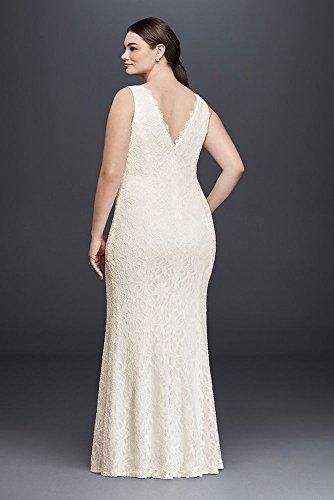 Allover Lace V Neck Plus Size Sheath Wedding Dress Style 183626dbw