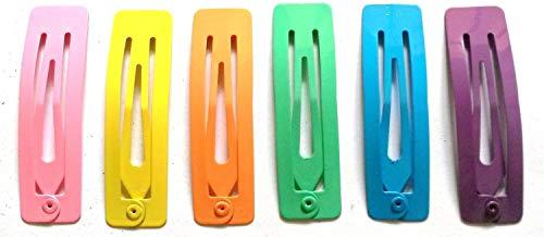 24 Pcs mix pastel colors Rectangular Hair Snap Clip Size 50 Mm ()
