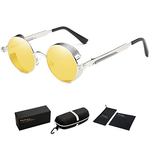 Dollger Round Vintage Steampunk Sunglasses for Men Metal Frame Yellow Tinted Lens