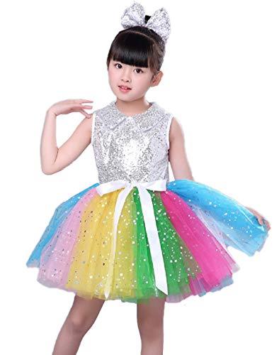 20b63aa544653 スパンコール ダンス衣装 ワンピース カラフル ドレス チュチュスカート 子供 キッズ 女の子 ダンス衣装 ジュニア ラテンダンス