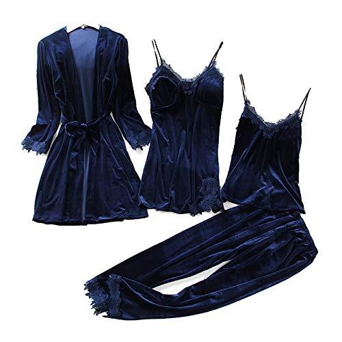 2244319ca1e TOOGOO Pajamas Women s Autumn Gold Velvet Four-Piece Suit Long Paragraph  Robe Harness Set With