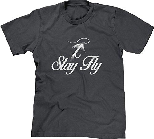 Charcoal River Wash T-shirt (Blittzen Mens T-shirt Stay Fly, S, Charcoal)