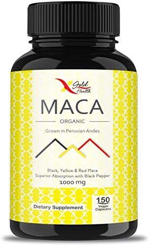 Organic Maca Root Powder Capsules Black, Yellow, Red -1000mg Serving Peruvian Maca for Men & Women, Superfood, Natural Energy Booster, 150 Vegan Pills Gelatinized + Black Pepper for Best Absorption