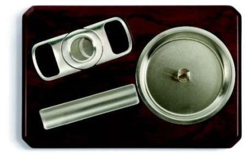 Chrome Cigarro Ash Tray Set with Stainless Steel Cigar Cutter Ash Set Cabinet