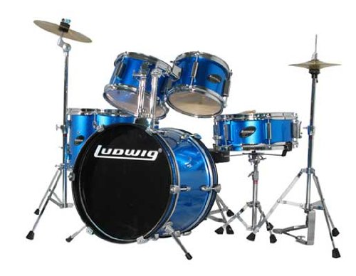 Ludwig 5 Piece Drum Set - Ludwig Junior 5 Piece Drum Set with Cymbals (Blue)