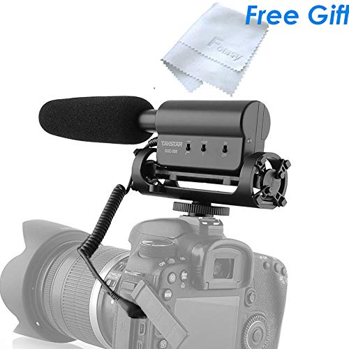 Takstar SGC-598 Shotgun Video Microphone, Cardiod Microphone Condenser Mic Vdeomicro w/Shock Mount Windscreen, Built-in Sensitivity switch, for Andoid Phone Canon Nikon Sony Panasonic Camera Camcorder