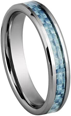 King Will 4MM Unisex Tungsten Ring Wedding Band Blue Carbon Fiber Inlay Beveled Edges Comfort Fit