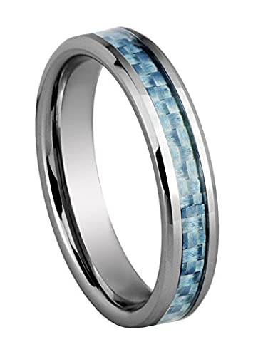 King Will 4MM Unisex Tungsten Ring Baby Blue Carbon Fiber Inlay Wedding Enagement Ring Beveled Edges