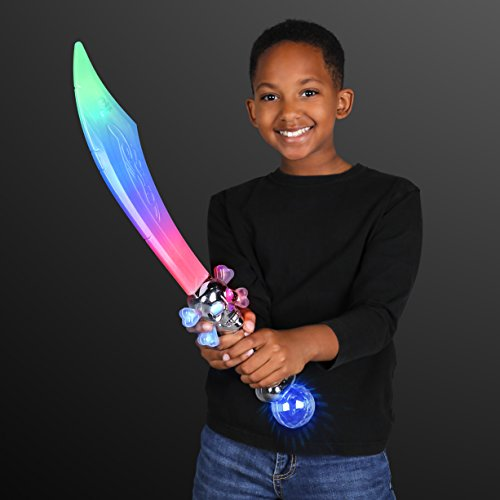 Curved Pirate Saber with LED Crystal Ball (Set of 2)