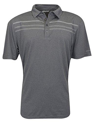 Etonic Golf- Heather Chest Stripe Polo Black/Chrome/Silver