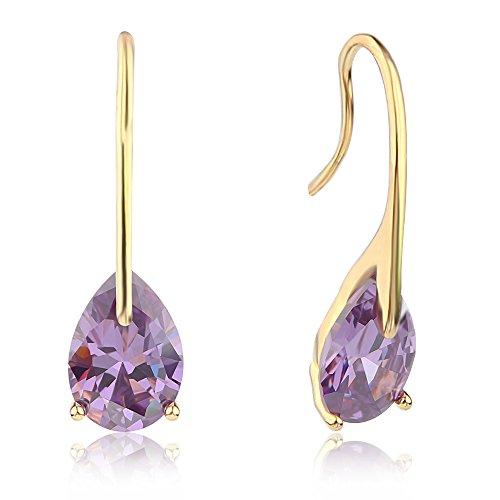 (Gold And Silver Teardrop Purple Zircon Dangle Earrings Show women's infinite)
