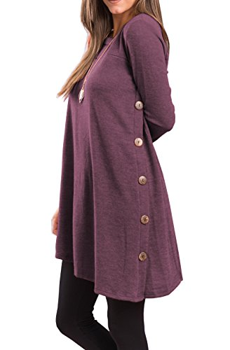 iGENJUN Women's Long Sleeve Scoop Neck Button Side Sweater Tunic Dress,M,Purple (Long Scoop Dress Sleeve Neck)