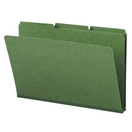 Smead 22546 Green Colored Pressboard File Folders - Legal - 8.50'' X 14'' - 1'' Expansion - 1/3 Tab Cut - Assorted Position Tab Location - 23 Pt. - Pressboard - Green - 25 / Box (SMD22546)