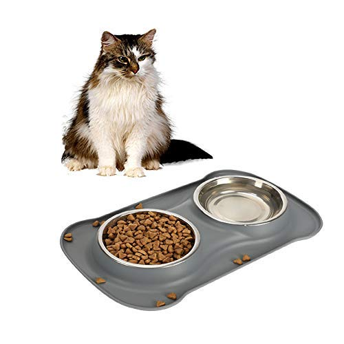 Cat Feeding Dishes - Safety Pet Bowl Dish-Pampering Pet Bowls(6 Ounce x2)For Cat Animal Feeding Dinner Water,Including 2 Set Stainless Bowls 1 No-Spill Silicone Mat and Non-Skid Silicone Bowl(grey)