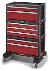 Keter 223044 - Carrito Organizador con 7 cajones, Negro Y Rojo, 54.2x26.9x72.2 cm