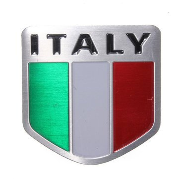 Exterior Accessories - Italy Flag Alloy Metal Auto Racing Sports Emblem Badge Decal Sticker - Slack Off Signal Iris Ease Slacken Italia Ensign National Flagstone Fleur-De-Lis - 1PCs by Unknown
