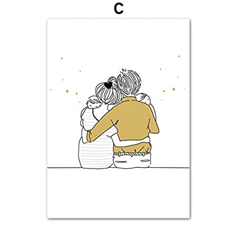 hetingyue Sin Marco Feliz Familia Amor nórdico línea póster e ...