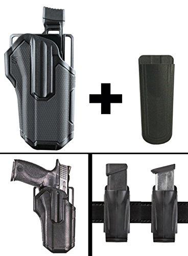 Automatic Semi Finish 9mm Black (Ultimate Arms Gear BlackHawk Omnivore Level 2 Active Retention Multi Fit Non Light Bearing Pistol Gun Handgun Right Holster Springfield XDM-9 OSP FULL SIZE, 9mm, 4.5 Magazine Holder, Black)