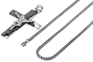 Beydodo Stainless Steel Men Pendant Necklace Cross Jesus Crucifix Rood Bible Prayer Chain Spanish/English