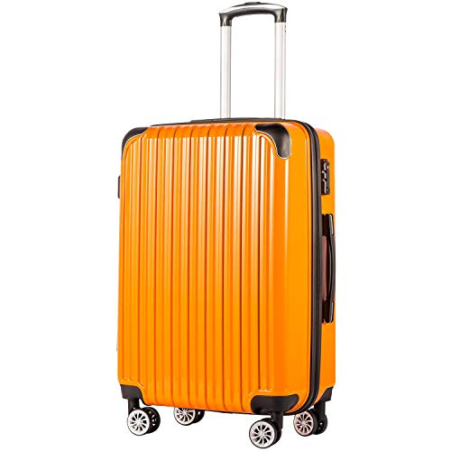 Coolife Luggage Expandable(only 28″) Suitcase PC+ABS Spinner 20in 24in 28in Carry on (orange new, M(24in))