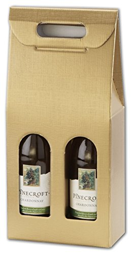Food & Gourmet Boxes - Gold Embossed 2 Wine Bottle Carriers, 7 x 3 1/2 x 15 3/4