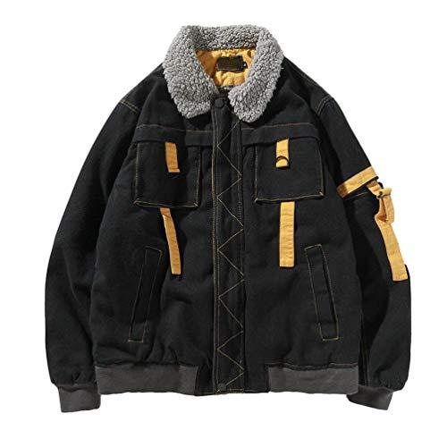 Warm Faux Schwarz Fur Loose Men's Parka Winter Huixin Coat Collar Coat Jacket Winter Jacket Apparel Winter Lapel Retro Utx51Tnqw
