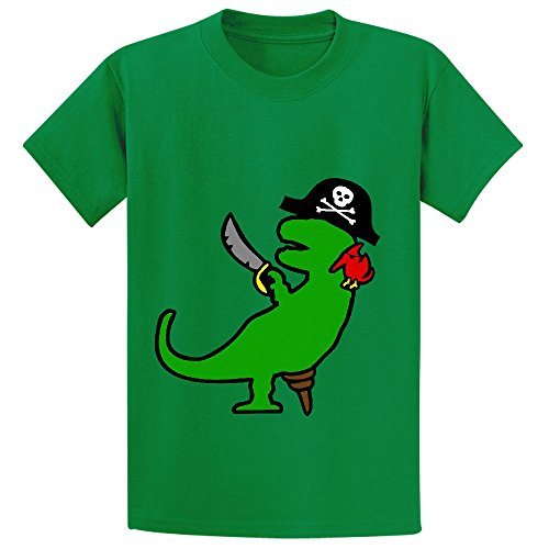 Pirate Dinosaur T Rex Boys' Crew Neck Customized T Shirt Green