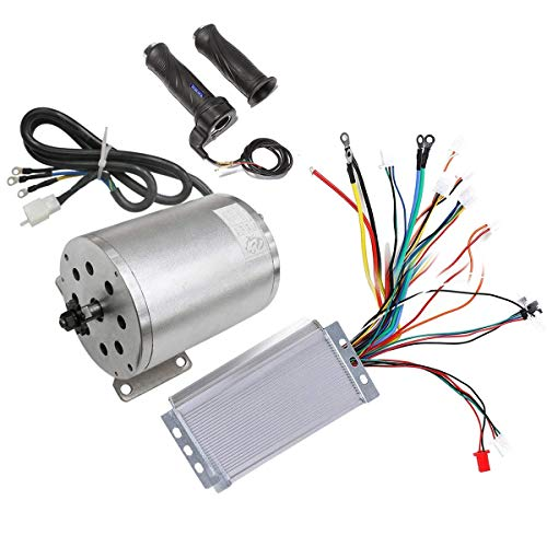 ZXTDR 48V 1800W Brushless Electric Motor and Controller with Throttle Grip Set for Go Kart Scooter e-Bike Motorized Bicycle ATV Moped Mini ()