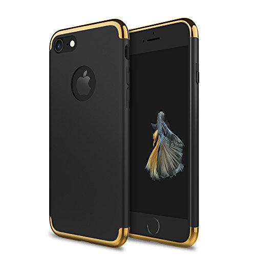 iPhone 7 Case, idutou 3-in-1 Sleek Thin and Slim Fit Hard Shell Cover Case with 3 Detachable Parts for Apple iPhone 7 Only, Chrome Gold and Matte Black (4.7 inches) 2016 (Black/Gold)