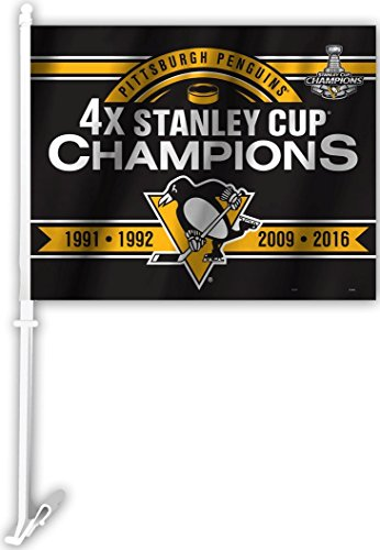Pittsburgh Penguins Car Flag - Pittsburgh Penguins 4X Stanley Cup Champions Car Flag 11974