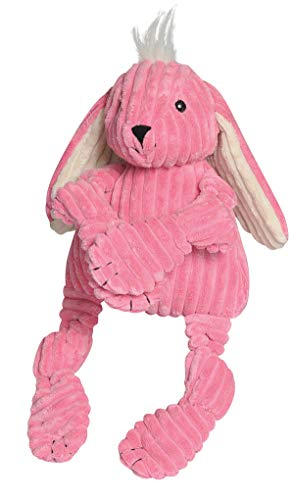 HuggleHounds Plush Corduroy Durable Squeaky Knottie, Dog Toy, Great Dog Toys  for Aggressive Chewers, Bunny, Large