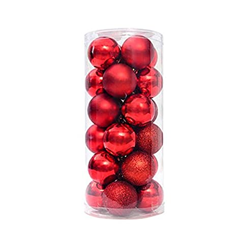 Wrisky Christmas Tree Xmas Balls Decorations Baubles Party Wedding Ornament 24pcs 4cm (Red)