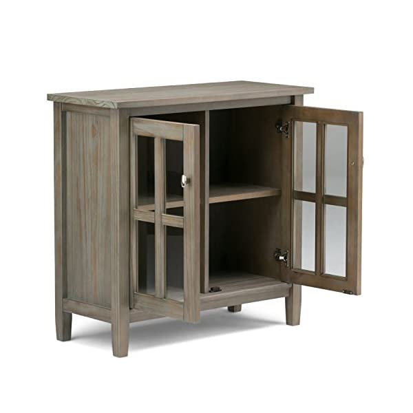 SIMPLIHOME Warm Shaker SOLID WOOD 32 inch Wide Rustic Low Storage Cabinet in Distressed Grey, with 2 Adjustable Shelves…