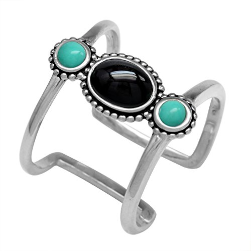Created Black Onyx & Green Turquoise 925 Sterling Silver Bali/Balinese Style Cuff Ring Size 7