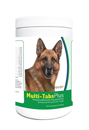 Healthy Breeds Dog Multi-Tab And Mineral Supplement Chewable Tabs For German Shepherd - Over 80 Breeds - 180, 365 Chews - Formula For Young Or Senior Pets - Easier Than Liquid, Powder