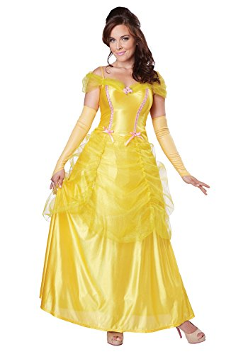 Belle Gown Costume (California Costumes Women's Classic Beauty Fairytale Princess Long Dress Gown, Yellow, Small)