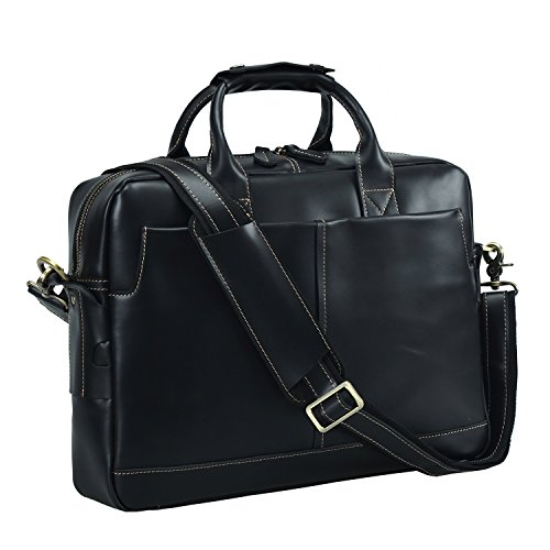 Polare Men's Thick Authentic Genuine Leather 17'' Laptop Case Bag Briefcase (black) (Leather Laptop 17' Brief)