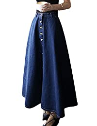 Women Elegant High Waist Button Down Denim A-line Skirt