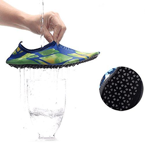 XINYI Aqua playa nadar zapatos de agua de secado rápido Slip On Piel Zapatos de Yoga calcetines para Unisex, tela, negro 1, 3XL43-44 Blue Star
