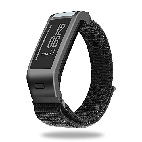 C2D JOY Sport Loop Works with Garmin vivosmart HR+Plus Replacement Bands Activity Tracker Watch Band with Metal Steel Case - Black, Large Fits 6.5-8.5in. Wrists