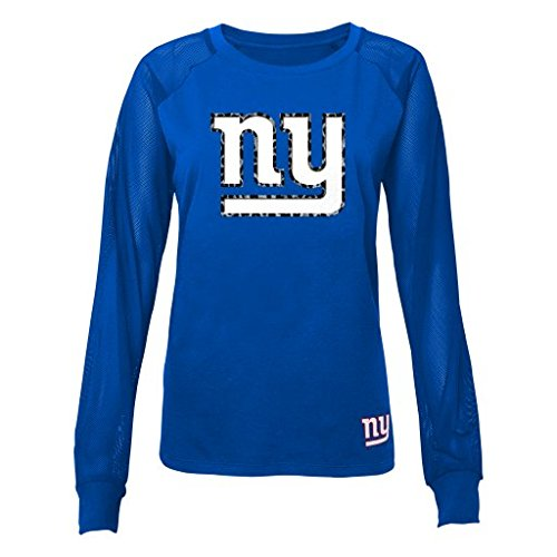 NFL Juniors 0-17 New York Giants Mesh Fashion Top, Royal, X-Large (15/17) (Girls New York Giants Shirt compare prices)